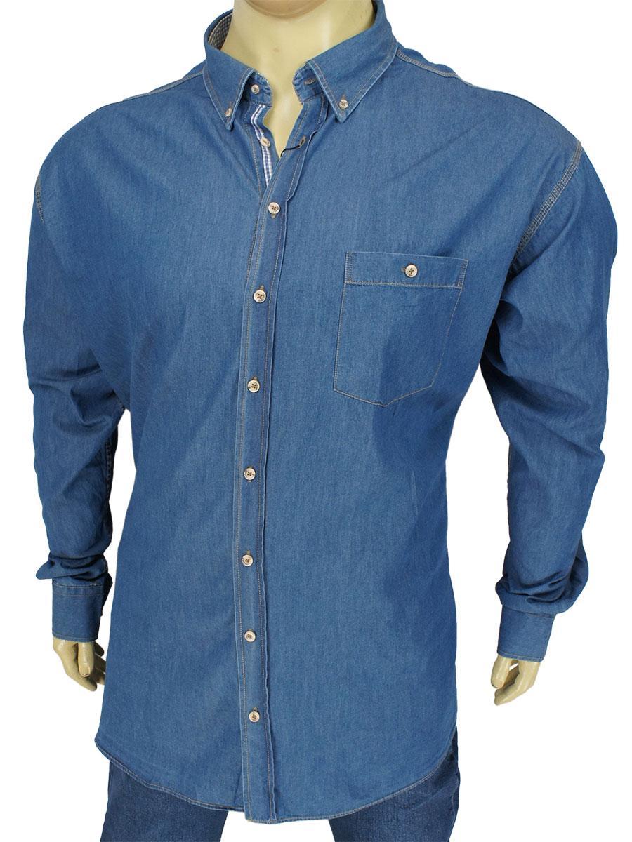 Чоловіча сорочка Barcotti 0752 B джинс. великих розмірів