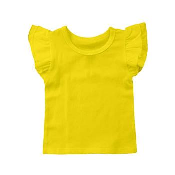 Футболка однотонная с рюшами детская для девочки, цвет желтый, круглая горловина, 190грам плотность