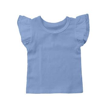 Футболка однотонная с рюшами детская для девочки, цвет голубой, круглая горловина, 190грам плотность 68