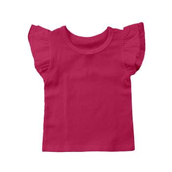 Футболка однотонная с рюшами детская для девочки, цвет темно розовый, круглая горловина, 190грам плотность 68