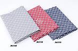 Тканина бязь з біло-червоними сердечками в квадратиках, №3358а, фото 7