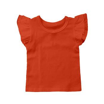 Футболка однотонная с рюшами детская для девочки, цвет морковный, круглая горловина, 190грам плотность 68
