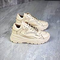 Жіночі шкіряні кросівки на шнурівці 36-40 р бежевий, фото 1