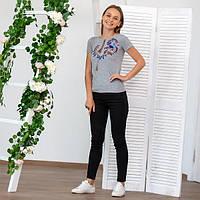 Женская серая футболка-вышиванка с неповторимым орнаментом «Петриковская роспись»
