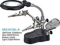 Держатель ZD-16126-A с линзой d=65mm, LED-подсветкой 3,5Х - кратным увеличением, двумя зажимами( крокодил).