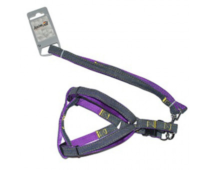 Шлея з повідцем AnimAll для собак HJ-LH 215 Denim leash Purle 10х1200мм