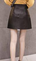 Стильная кожанная юбка на молнии, фото 3