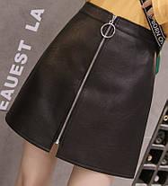 Стильная кожанная юбка на молнии, фото 2