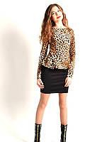 Стильное платье баска в леопардовый принт, фото 1