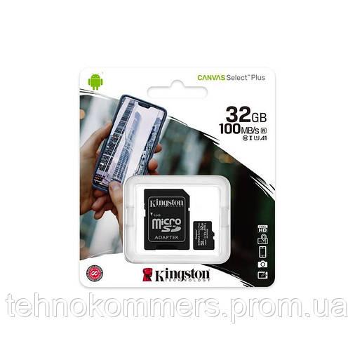 Карта пам'яті Kingston microSDHC Canvas Select Plus 32GB Class 10 UHS-I A1 W-100MB/s R-100MB/s +SD-а, фото 2