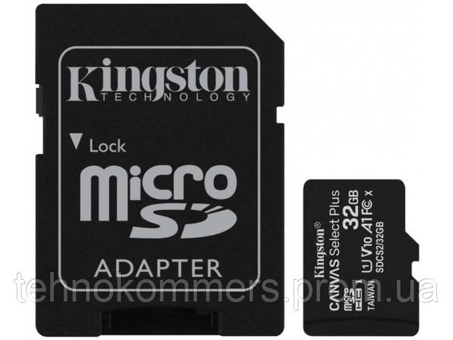 Карта пам'яті Kingston microSDHC Canvas Select Plus 32GB Class 10 UHS-I A1 W-100MB/s R-100MB/s +SD-а, фото 3