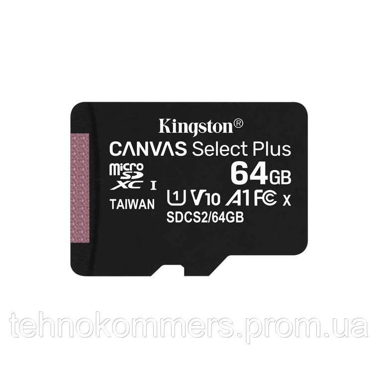 Карта пам'яті Kingston microSDXC Canvas Select Plus 64GB Class 10 UHS-I A1 W-10MB/s R-100MB/s Без ад, фото 2