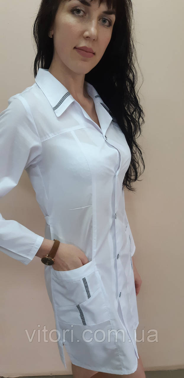 Женский медицинский халат Студент на пуговицах длинный рукав 40 размер