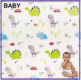 Детский двухсторонний складной коврик Панда\Динозавры 200x180x1см