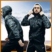 Мужская куртка камуфляж серо-черный спортивная с капюшоном не промокаемая ветровка Windbreaker