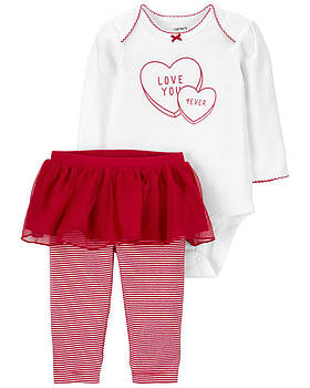 Боди + Штаны с юбкой Carters на новорожденную девочку 46-55 см. Костюм двойка для девочки