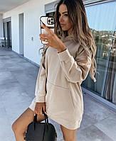 Жіноче стильне плаття-туніка з капюшоном