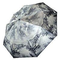 """Женский зонт, полуавтомат с изображениями городов, сатин от фирмы """"Calm Rain"""", 483-6, фото 1"""