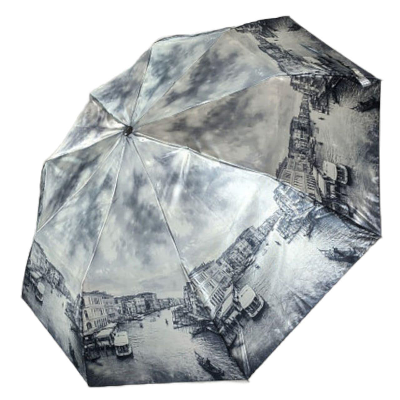 """Женский зонт, полуавтомат с изображениями городов, сатин от фирмы """"Calm Rain"""", 483-6"""