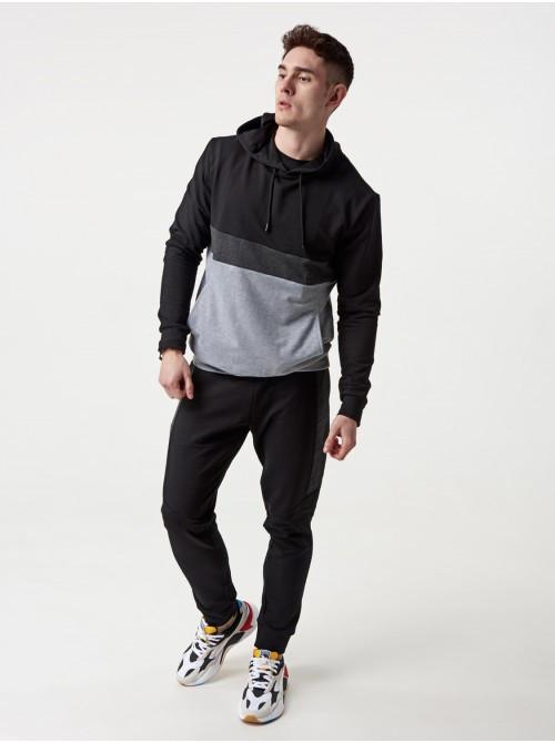 Чоловічий спортивний костюм КN Чорно-білий