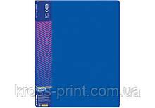 Папка пластиковая с 20 файлами, синяя