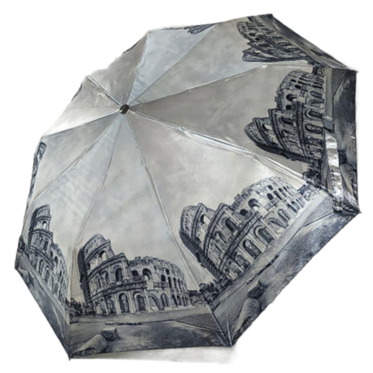 """Женский зонт, полуавтомат с изображениями городов, сатин от фирмы """"Calm Rain"""", 483-7"""