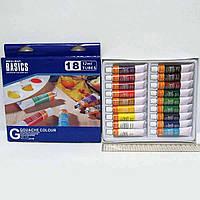 Профессиональные художественные краски Гуашь Basics 18 цветов по 12 мл в тюбике гуашевые краски в тюбике