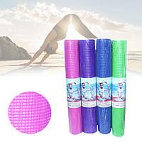 Коврик для фитнеса и спорта каремат для йоги танцев пилатеса толщина 3 мм однотонный