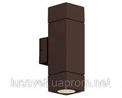 Фасадный светильник уличный двухсторонний Viokef Paros коричневый 2х7W