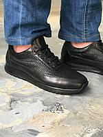 Мужские Кроссовки с мехом от Angelo Ruffo 44 размер черный из кожи Оленина