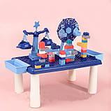 Дитячий ігровий столик для конструктора RUN RUN Block World 69шт Синій, фото 2