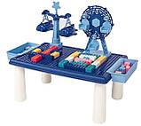 Дитячий ігровий столик для конструктора RUN RUN Block World 69шт Синій, фото 3