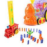Детская игрушка паровозик с домино Intelligence Domino | Поезд-домино Happy Truck sciries COLORS 100 деталей, фото 2