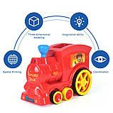 Детская игрушка паровозик с домино Intelligence Domino | Поезд-домино Happy Truck sciries COLORS 100 деталей, фото 3