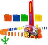 Детская игрушка паровозик с домино Intelligence Domino | Поезд-домино Happy Truck sciries COLORS 100 деталей, фото 4