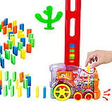 Детская игрушка паровозик с домино Intelligence Domino | Поезд-домино Happy Truck sciries COLORS 100 деталей, фото 5