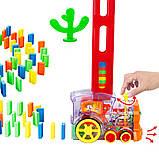 Дитяча іграшка паровозик з доміно Intelligence Domino   Поїзд-доміно Happy Truck sciries COLORS 100 деталей, фото 5