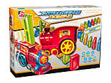 Детская игрушка паровозик с домино Intelligence Domino | Поезд-домино Happy Truck sciries COLORS 100 деталей, фото 8
