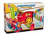Дитяча іграшка паровозик з доміно Intelligence Domino   Поїзд-доміно Happy Truck sciries COLORS 100 деталей, фото 8