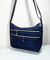 Жіноча Стьобана дута сумка, синя з білими блискавками і написами на ремінці, фото 1