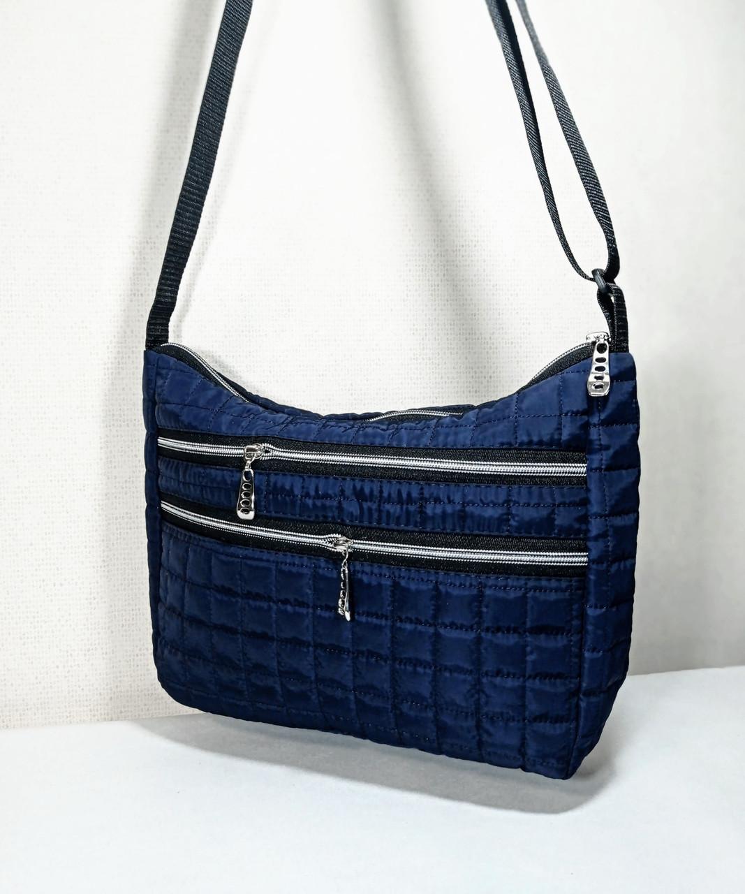 Жіноча Стьобана дута сумка, синя з білими блискавками і написами на ремінці