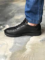 Мужские Кроссовки с мехом от Angelo Ruffo 39 размер черный из кожи Оленина