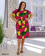 Модное красивое летнее нежаркое платье размер 50-54, фото 1