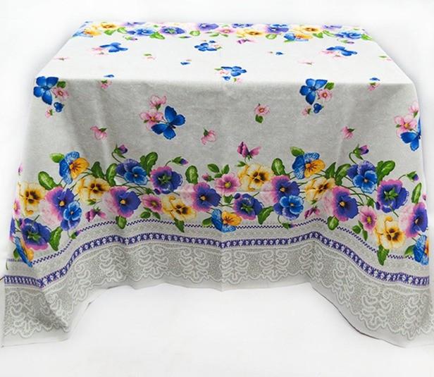 Лляна скатертина на середній стіл/Скатертину з братками/Скатертину 180х150