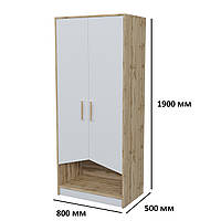 Модульный двухдверный шкаф в детскую Unity A 2D со светлыми дверями белая аляска / дуб тахо