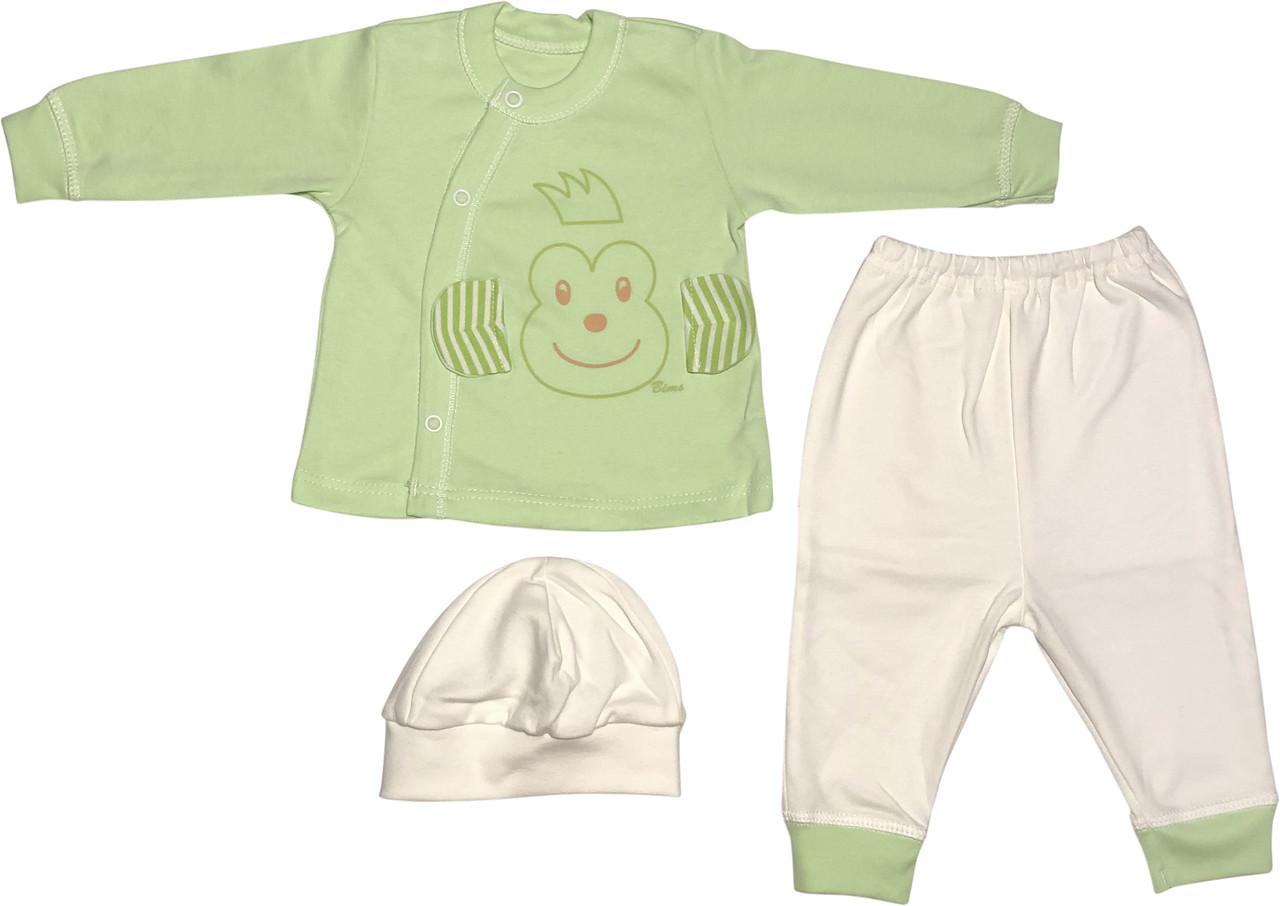 Костюм для новонароджених малюків зростання 62 2-3 міс на хлопчика дівчинку комплект дитячий трикотажний салатовий
