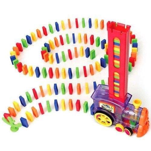 Детская игрушка паровозик с домино Intelligence Domino | Поезд-домино Happy Truck sciries COLORS 100 деталей