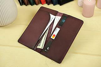 """Шкіряний гаманець """"Лонг Тревел"""", Шкіра Італійський краст, колір Бордо, фото 3"""