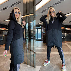 Демисезон куртка женская черная с капюшоном