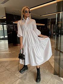 Стильное женское длинное платье с короткими рукавами и свободного кроя 42-46 48-52, Белое, Стильное длинное
